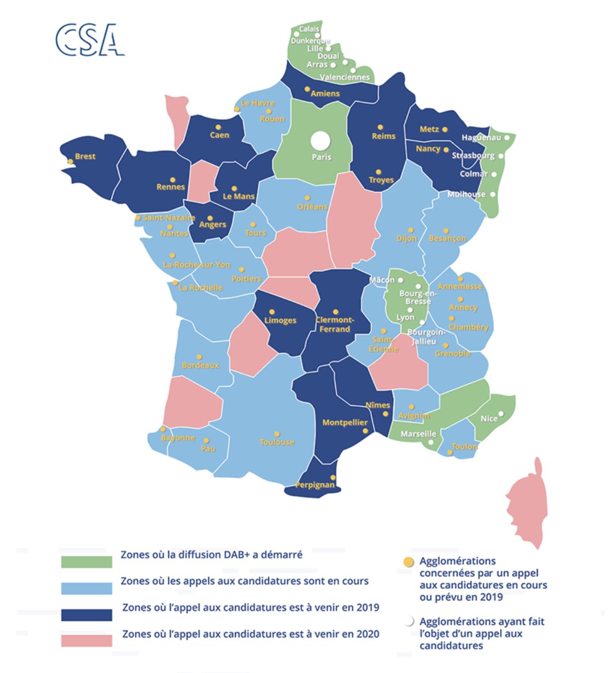 Carte de France - CSA DAB+