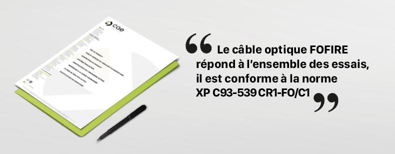 FOFIRE conforme norme XP C93-539 CR1-FO/C1