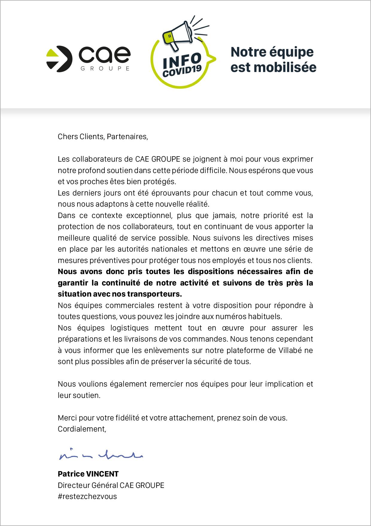 Lettre de notre Directeur Général à destination de nos clients/partenaires - CAE Groupe